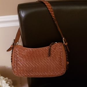 Talbots Woven Leather Handbag.
